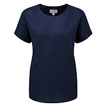 Buy Pure Collection Allison Embroidered Linen Top, French Navy Online at johnlewis.com