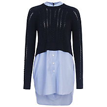 Buy French Connection Crochet Cable Jumper, Utility Blue/Stripe Online at johnlewis.com