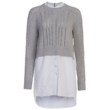 Buy French Connection Crochet Cable Knit Jumper Shirt, Light Grey/White Online at johnlewis.com