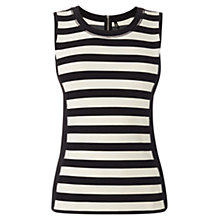 Buy Karen Millen Graphic Stripe Vest Top, Black & Ivory Online at johnlewis.com