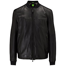 Buy BOSS Green Jolmen Leather Jacket, Black Online at johnlewis.com
