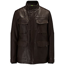 Buy BOSS Orange C-Jouan Leather Jacket, Dark Brown Online at johnlewis.com