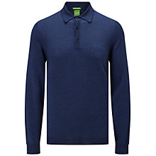 Buy BOSS Green C-Camus Long Sleeve Knit Polo Shirt, Open Blue Online at johnlewis.com
