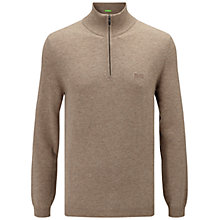 Buy BOSS Green C-Ceno Lambswool Zip Neck Jumper, Open Beige Online at johnlewis.com
