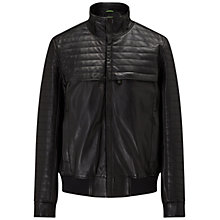 Buy BOSS Green Jalon Leather Jacket, Black Online at johnlewis.com