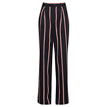 Buy French Connection Stripe Wide Leg Trousers, Black/Multi Online at johnlewis.com