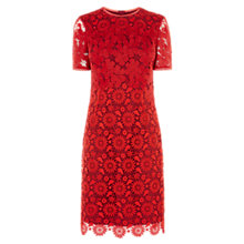 Buy Karen Millen Blocked Lace Pencil Dress, Red/Multi Online at johnlewis.com