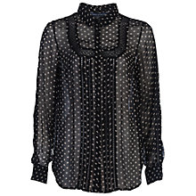 Buy French Connection Daisy Star Lace Shirt, Black Online at johnlewis.com