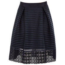 Buy Ted Baker Lotee Sheer Panel Midi Skirt, Navy Online at johnlewis.com