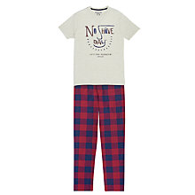 Buy Joules Goodnight T-Shirt and Trousers Lounge Set, Plum Check Online at johnlewis.com