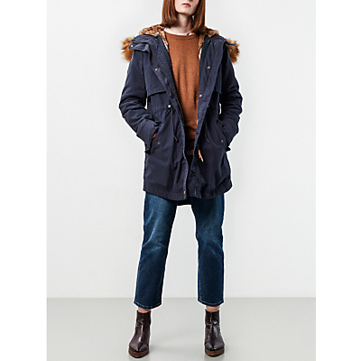 Parka London Lara Faux Fur Lined Parka, Navy