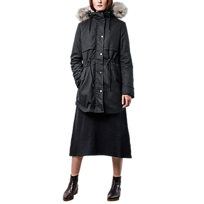Parka London Lara Faux Fur Lined Parka, Black