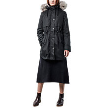 Buy Parka London Lara Faux Fur Lined Parka, Black Online at johnlewis.com