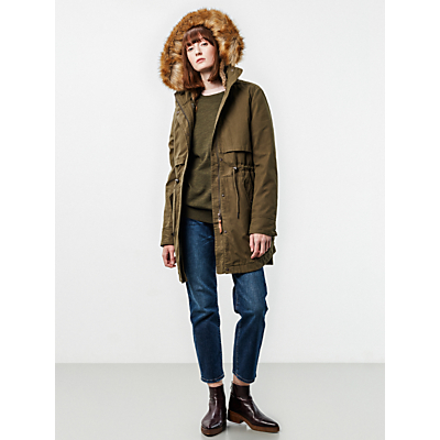 Parka London Lara Faux Fur Lined Parka, Khaki