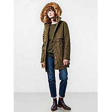 Buy Parka London Lara Faux Fur Lined Parka, Khaki Online at johnlewis.com