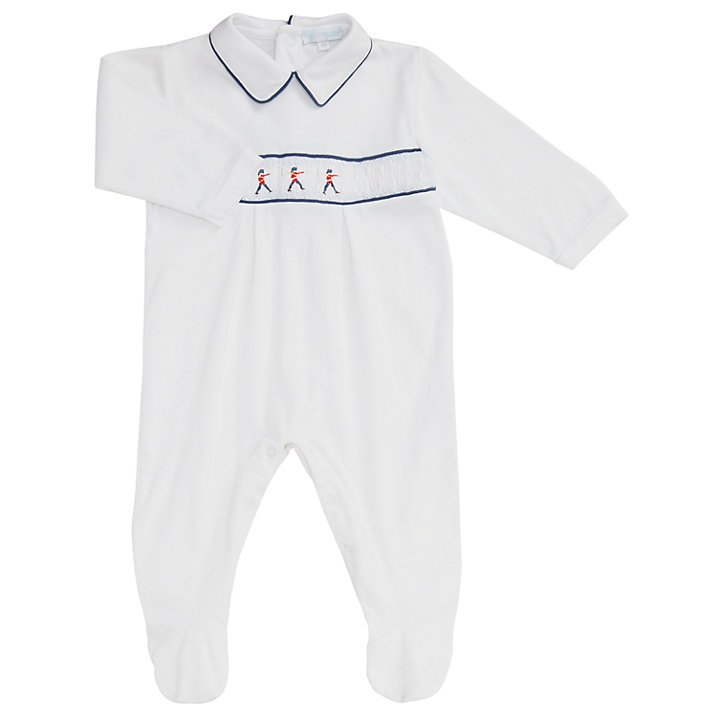 Buy Mini La Mode Baby Toy Soldier Footsie Sleepsuit, White, 3 months Online at johnlewis.com