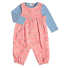 Buy John Lewis Baby Floral Print Cord Dungaree Set, Pink Online at johnlewis.com