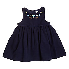 Buy John Lewis Baby Embroidered Cord Dress, Navy Online at johnlewis.com