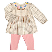 Buy John Lewis Baby Grid Blouse and Leggings Set, Beige/Pink Online at johnlewis.com