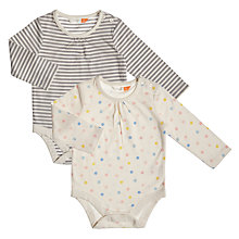Buy John Lewis Baby Spots and Stripe Bodysuit, Pack of 2, Multi Online at johnlewis.com