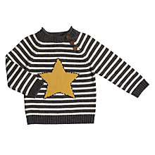 Buy John Lewis Baby Striped Star Jumper, Grey/Yellow Online at johnlewis.com