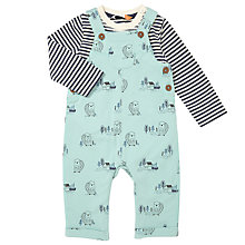 Buy John Lewis Baby Beaver Print Dungaree Set, Green/White Online at johnlewis.com