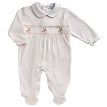 Buy Mini La Mode Baby Rabbit Smock Sleepsuit, White Online at johnlewis.com