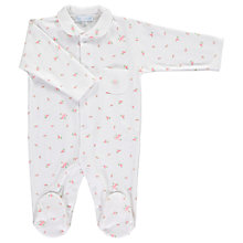 Buy Mini La Mode Baby Sweet Rose Footsie Sleepsuit, White Online at johnlewis.com
