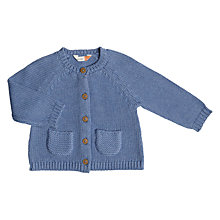 Buy John Lewis Baby Chunky Knit Cardigan, Blue Online at johnlewis.com