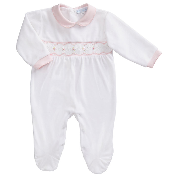Buy Mini La Mode Baby Velour Footsie Sleepsuit, Pink, 3 months Online at johnlewis.com