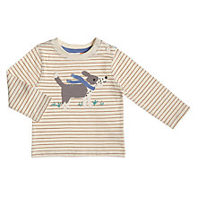 Buy John Lewis Baby Dog Applique Striped T-Shirt, Oatmeal Online at johnlewis.com