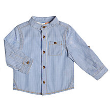 Buy John Lewis Baby Striped Grandad Shirt, Blue Online at johnlewis.com
