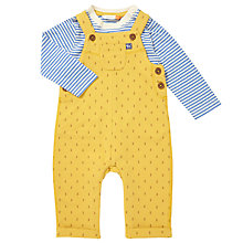 Buy John Lewis Baby Tree Print Dungaree Set, Yellow Online at johnlewis.com