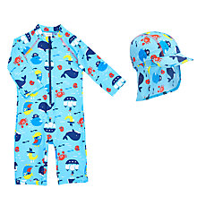 Buy John Lewis Baby Sea Print SunPro Swimsuit and Hat Set, Blue Online at johnlewis.com