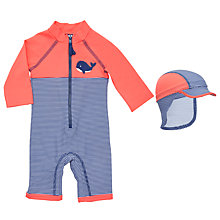 Buy John Lewis Baby Whale Appliqué Striped SunPro Swimsuit and Hat Set, Red/Multi Online at johnlewis.com