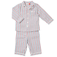 Buy John Lewis Baby Striped Woven Pyjamas, Blue/Red Online at johnlewis.com