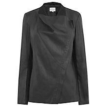 Buy Warehouse Drape Neck PU Jacket, Black Online at johnlewis.com