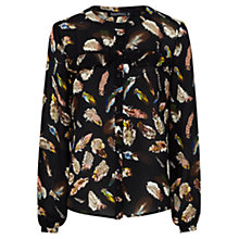 Buy Sugarhill Boutique Aurora Feather Print Frill Shirt, Black Online at johnlewis.com