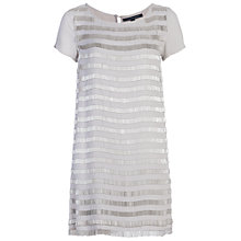 Buy French Connection Della Fringe Short Sleeve Tunic Dress, Freeway Grey Online at johnlewis.com