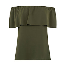 Buy Warehouse Off Shoulder Top, Khaki Online at johnlewis.com