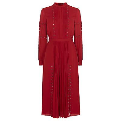 Karen Millen Fashion Eyelet Dress Dark Red £250.00 AT vintagedancer.com