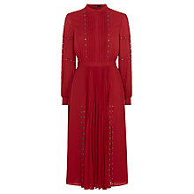 Buy Karen Millen Fashion Eyelet Dress, Dark Red Online at johnlewis.com