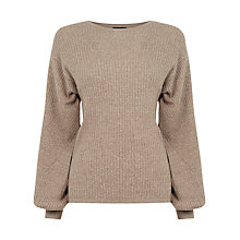 Buy Warehouse Balloon Sleeve Rib Jumper, Brown Online at johnlewis.com