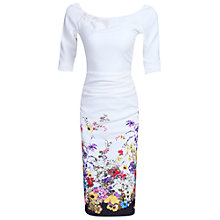 Buy Jolie Moi Floral Half Sleeve Ruched Wiggle Dress, Cream Online at johnlewis.com