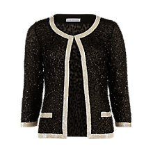 Buy Gina Bacconi Sequin Jacket With Contrast Bands, Black/Cream Online at johnlewis.com