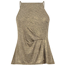 Buy Warehouse Tuck Detail Metallic Cami, Gold Online at johnlewis.com