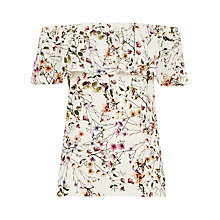 Buy Warehouse Trailing Floral Bardot Top, Multi Online at johnlewis.com
