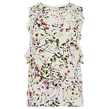 Buy Warehouse Trailing Floral Ruffle Top, Multi Online at johnlewis.com