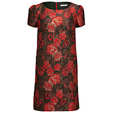 Buy Gina Bacconi Matelasse Metallic Jacquard Dress, Red/Black Online at johnlewis.com