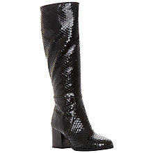 Buy Dune Black Torra Knee Boots, Black Reptile Online at johnlewis.com